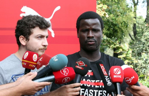 ISTANBUL, TURKEY - SEPTEMBER 16: Ivory Coast's Emmanuel Eboue dropped out of the Galatasaray's squad due to the Turkey Football Federation (TFF) restriction on foreign players speaks to the media during his sponsor PUMA presentation on September 16, 2014 in Istanbul, Turkey. (Ahmet Dumanli - Anadolu Agency)