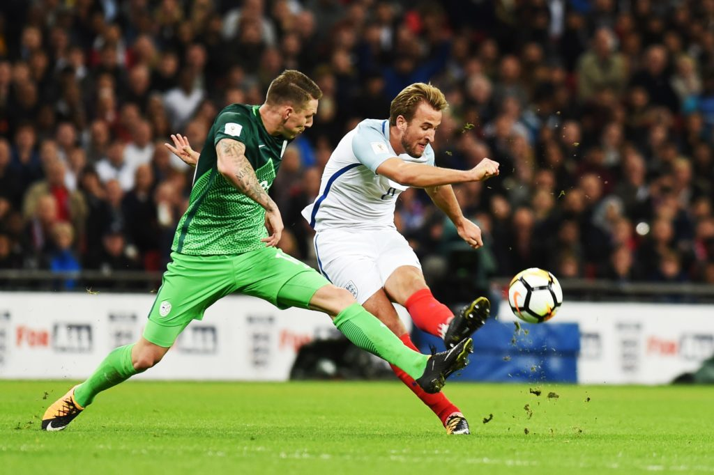 LONDON, UNITED KINGDOM - OCTOBER 05: Andraz Sporar (L) of Slovenia in action during the 2018 FIFA World Cup European Qualification football match between England and Slovenia at Wembley Stadium in London, United Kingdom on October 05, 2017. Kate Green / Anadolu Agency