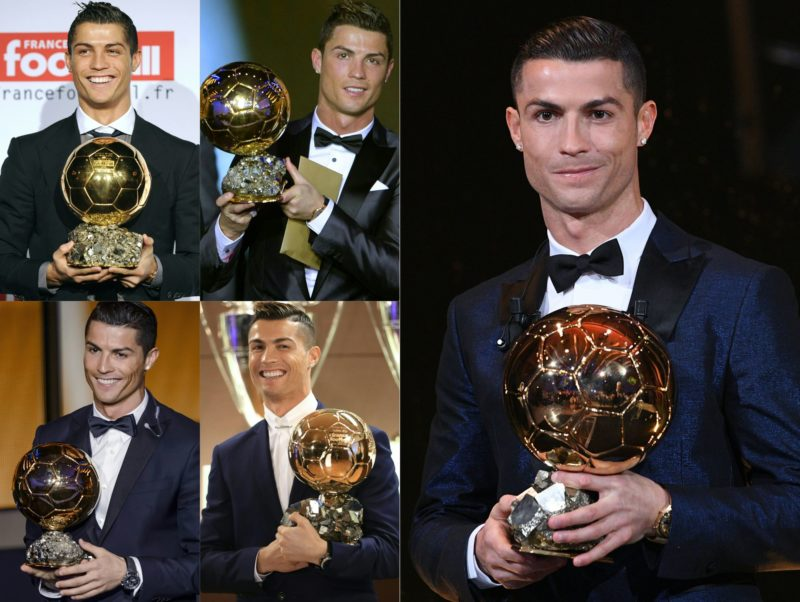 """(COMBO) This combination of pictures created on December 7, 2017 shows file photos (L to R, top to bottom) of Portuguese winger Cristiano Ronaldo holding his four trophies after receiving the European footballer of the year award, the """"Ballon d'Or"""" (Golden ball), in 2008, 2013, 2015 and 2016 and 2107 (R).                                         Portuguese star Cristiano Ronaldo won a record-equalling fifth Ballon d'Or (2008, 2013, 2015, 2016 and 2017) award for the year's best player on December 7. The Real Madrid forward's second successive win draws him level alongside Barcelona rival Lionel Messi on five Ballon d'Ors, after beating the Argentinian and Brazilian Neymar.  / AFP PHOTO / AFP PHOTO AND L'EQUIPE / RESTRICTED TO EDITORIAL USE - MANDATORY CREDIT """"AFP PHOTO / L'EQUIPE / FRANCK FAUGERE"""" FOR THE PICTURE OF  2017- NO MARKETING NO ADVERTISING CAMPAIGNS - DISTRIBUTED AS A SERVICE TO CLIENTS"""