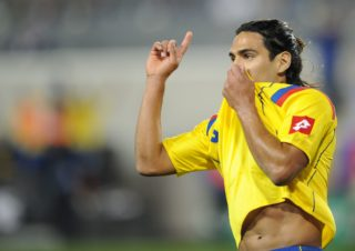 Radamel Falcao Garcia of Colombia celebrates his goal against Ecuador during a friendly match October 8, 2010 at Red Bull Arena in Harrison, New Jersey won by Columbia, 1-0. AFP PHOTO/Stan Honda / AFP PHOTO / STAN HONDA