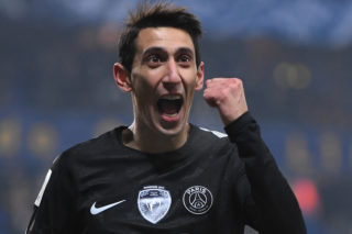 Paris Saint-Germain's Argentinian forward Angel Di Maria celebrates after scoring a goal during the French League Cup round of sixteen football match between Sochaux (FCSM) and Paris Saint-Germain (PSG), on February 6, 2018 at the Auguste Bonal stadium in Sochaux. / AFP PHOTO / PATRICK HERTZOG