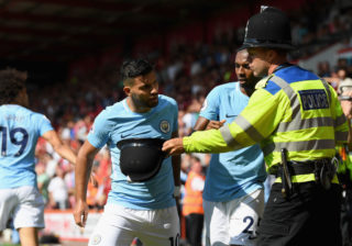 BOURNEMOUTH, ENGLAND - AUGUST 26:  Sergio Aguero of Manchester City argues with a police man during the Premier League match between AFC Bournemouth and Manchester City at Vitality Stadium on August 26, 2017 in Bournemouth, England.  (Photo by Mike Hewitt/Getty Images)