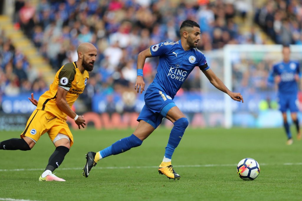 Leicester City midfielder Riyad Mahrez (26) & Brighton and Hove Albion defender Bruno (2) during the Premier League match between Leicester City and Brighton and Hove Albion at the King Power Stadium, Leicester, England, on 19 August 2017 - Photo by Bennett Dean / ProSportsImages / DPPI