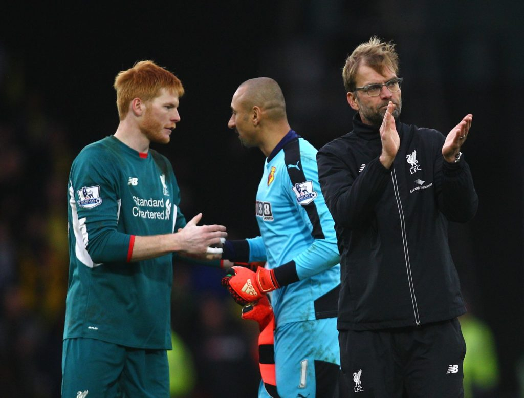 Adam Bogdan of Liverpool shakes hands with Heurelho Gomes of Watford while Jurgen Klopp manager of Liverpool acknowledges the fans during the English championship Premier League football match between Watford and Liverpool on December 20, 2015 at Vicarage Road in Watford, England. Photo Michael Zemanek / Backpage Images / DPPI