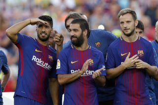 (L-R) Luis Suarez of FC Barcelona, Arda Turan of FC Barcelona, Ivan Rakitic of FC Barcelona during the Trofeu Joan Gamper match between FC Barcelona and Chapecoense on August 7, 2017 at the Camp Nou stadium in Barcelona, Spain.(Photo by VI Images via Getty Images)