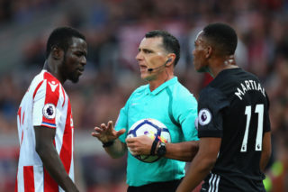 during the Premier League match between Stoke City and Manchester United at Bet365 Stadium on September 9, 2017 in Stoke on Trent, England.