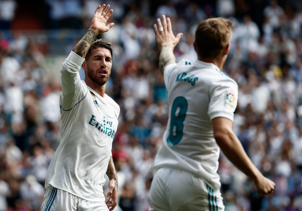 MADRID, SPAIN - SEPTEMBER 09 : Sergio Ramos (L) and Toni Kroos (R) of Real Madrid celebrate after the goal during the La Liga soccer match between Real Madrid and Levante at Santiago Bernabeu in Madrid, Spain on September 09, 2017.