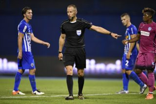 Hungarian referee Tamas Bognar pictured during the first leg match of the playoff round between Croatian team Lokomotiva Zagreb and Belgian first league soccer team KRC Genk in the Europa League competition, on Thursday 18 August 2016, in Zagreb, Croatia. BELGA PHOTO YORICK JANSENS