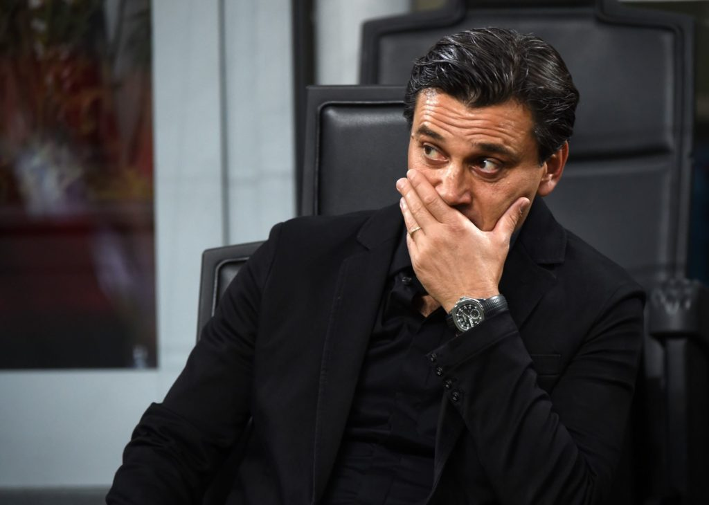 MILAN, ITALY - AUGUST 27: Head coach of AC Milan, Vincenzo Montella looks on during Serie A soccer match between AC Milan and Cagliari Calcio at San Siro Stadium in Milan, Italy on August 27, 2017. Pier Marco Tacca / Anadolu Agency