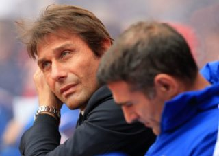 Chelsea's Italian head coach Antonio Conte awaits kick off in the English Premier League football match between Stoke City and Chelsea at the Bet365 Stadium in Stoke-on-Trent, central England on September 23, 2017. / AFP PHOTO / Lindsey PARNABY / RESTRICTED TO EDITORIAL USE. No use with unauthorized audio, video, data, fixture lists, club/league logos or 'live' services. Online in-match use limited to 75 images, no video emulation. No use in betting, games or single club/league/player publications.  /