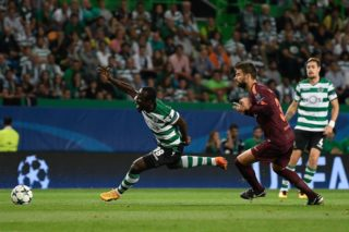 PORTUGAL, Lisbon: Seydou Doumbia is in action during a UEFA Champions League soccer match between Sporting CP and FC Barcelona at Alvalade Stadium in Lisbon, Portugal on September 27, 2017. Barcelona won the game. - Bruno DE CARVALHO