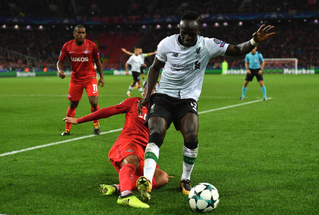 during the UEFA Champions League group E match between Spartak Moskva and Liverpool FC at Otkrytije Arena on September 26, 2017 in Moscow, Russia.