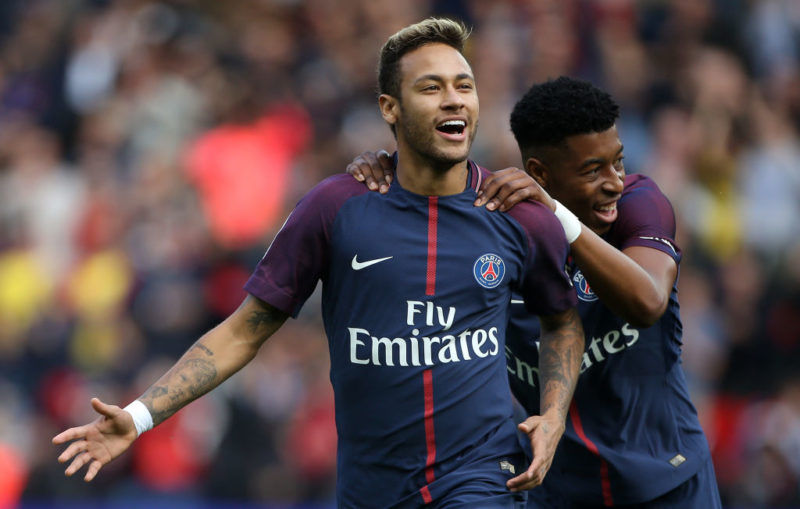 PARIS, FRANCE - SEPTEMBER 30: Neymar Jr of PSG celebrates his first goal with Presnel Kimpembe during the French Ligue 1 match between Paris Saint-Germain (PSG) and FC Girondins de Bordeaux at Parc des Princes on September 30, 2017 in Paris, France. (Photo by Jean Catuffe/Getty Images)