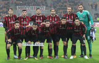 during the UEFA Europa League group D match between AC Milan and AEK Athen at Stadio Giuseppe Meazza on October 19, 2017 in Milan, Italy.