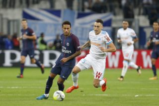 Neymar of Paris Saint-Germain and Lucas Ocampos of Marseille during the French Championship Ligue 1 football match between Olympique de Marseille and Paris Saint-Germain on October 22, 2017 at Orange Velodrome stadium in Marseille, France - Photo Philippe Laurenson / DPPI
