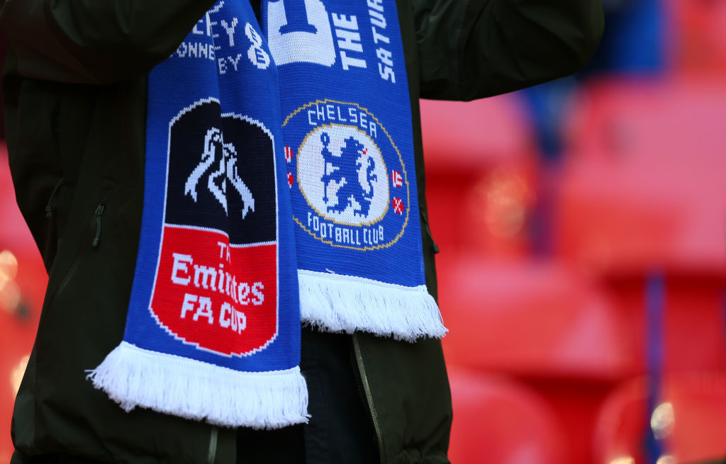 LONDON, ENGLAND - APRIL 22: A Chelsea scarf with the club badge and the Emirates FA Cup logo during the Emirates FA Cup semi-final match between Tottenham Hotspur and Chelsea at Wembley Stadium on April 22, 2017 in London, England. (Photo by Catherine Ivill - AMA/Getty Images)