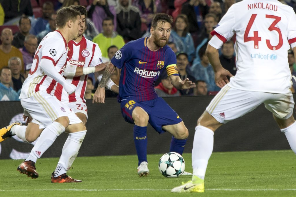 Leo Messi in action during the UEFA Champions League match between FC Barcelona and Olympiacos FC in Barcelona on October 19, 2017. (Photo by Miquel Llop/NurPhoto)