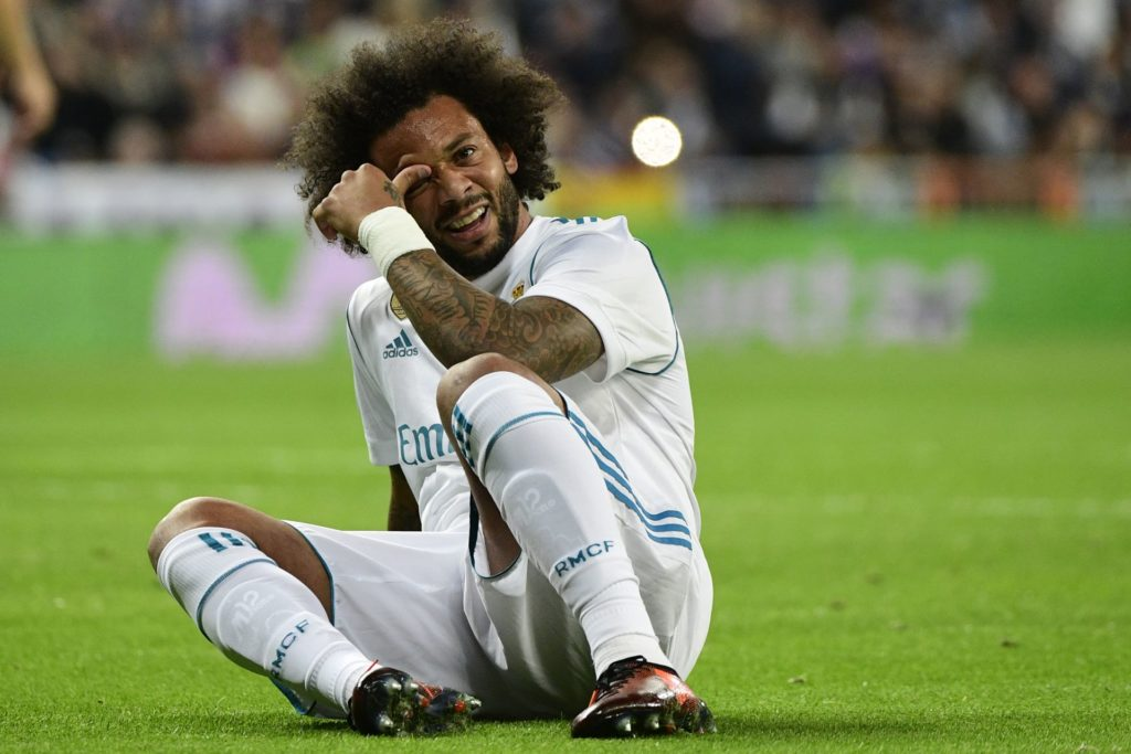 Real Madrid's Brazilian defender Marcelo reacts during the Spanish league football match Real Madrid CF vs SD Eibar at the Santiago Bernabeu stadium in Madrid on October 22, 2017. / AFP PHOTO / PIERRE-PHILIPPE MARCOU