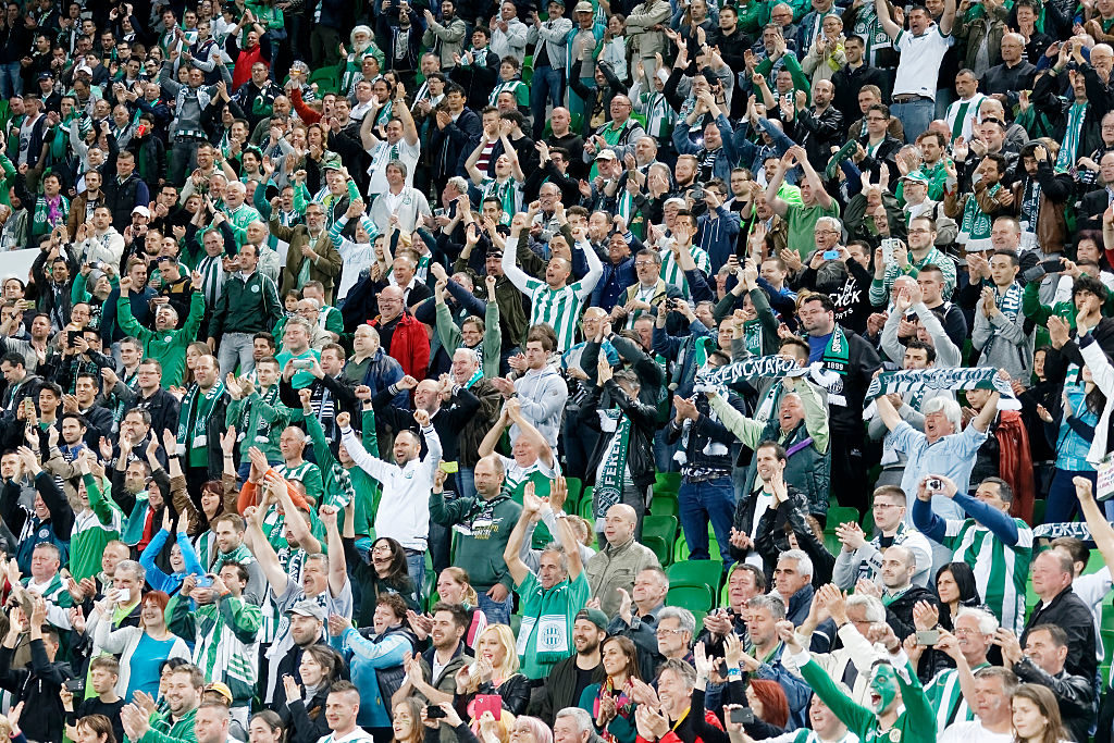 BUDAPEST, HUNGARY - MAY 7: The supporters of Ferencvarosi TC celebrate the victory during the Hungarian Cup Final football match between Ujpest FC and Ferencvarosi TC at Groupama Arena on May 7, 2016 in Budapest, Hungary.  (Photo by Laszlo Szirtesi/Getty Images)
