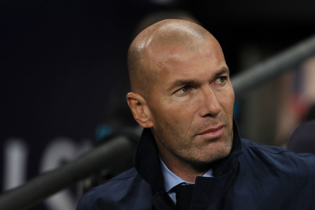 LONDON, ENGLAND - NOVEMBER 01: Zinedine Zidane manager / head coach of Real Madrid during the UEFA Champions League group H match between Tottenham Hotspur and Real Madrid at Wembley Stadium on November 1, 2017 in London, United Kingdom. (Photo by Matthew Ashton - AMA/Getty Images)