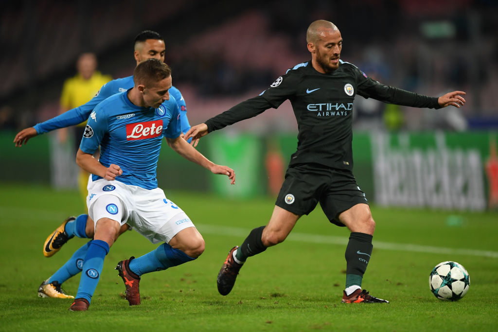 during the UEFA Champions League group F match between SSC Napoli and Manchester City at Stadio San Paolo on November 1, 2017 in Naples, Italy.