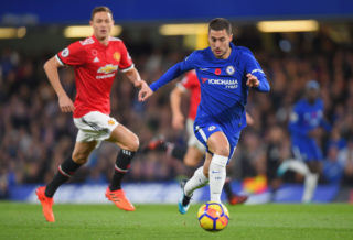 during the Premier League match between Chelsea and Manchester United at Stamford Bridge on November 5, 2017 in London, England.