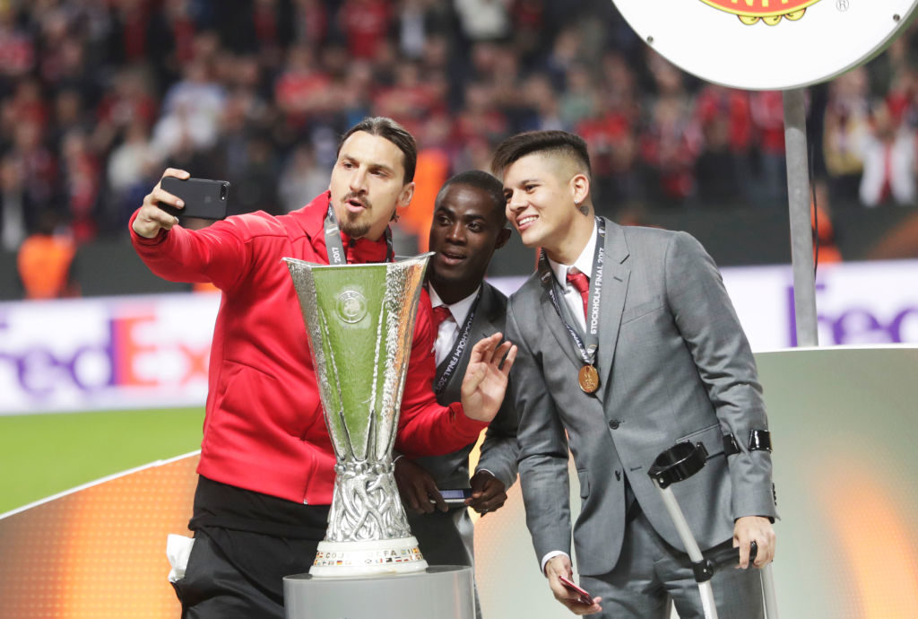 STOCKHOLM, SWEDEN - MAY 24: Zlatan Ibrahimovi of Manchester United takes a selfie with the trophy during the UEFA Europa League Final between Ajax and Manchester United  at Friends Arena on May 24, 2017 in Stockholm, Sweden.  (Photo by Nils Petter Nilsson/Getty Images)