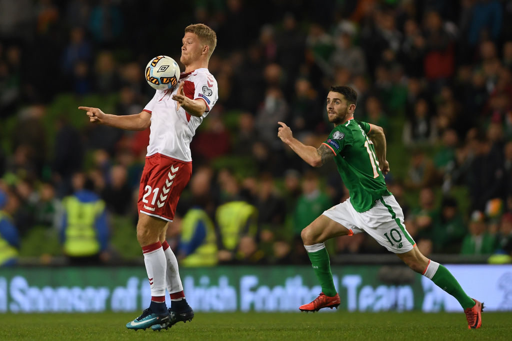 DUBLIN, IRELAND - NOVEMBER 14:  Andreas Cornelius of Denmark is challenged by Robbie Brady of Ireland during the FIFA 2018 World Cup Qualifier Play-Off: Second Leg between Republic of Ireland and Denmark at Aviva Stadium on November 14, 2017 in Dublin, Ireland.  (Photo by Mike Hewitt/Getty Images)
