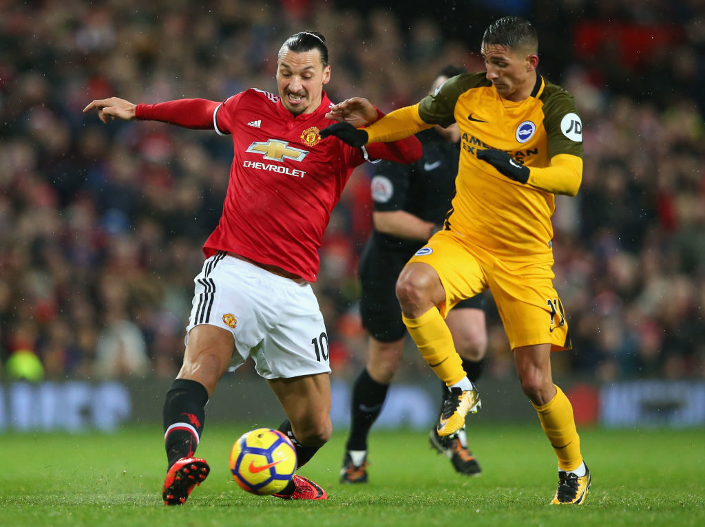 during the Premier League match between Manchester United and Brighton and Hove Albion at Old Trafford on November 25, 2017 in Manchester, England.
