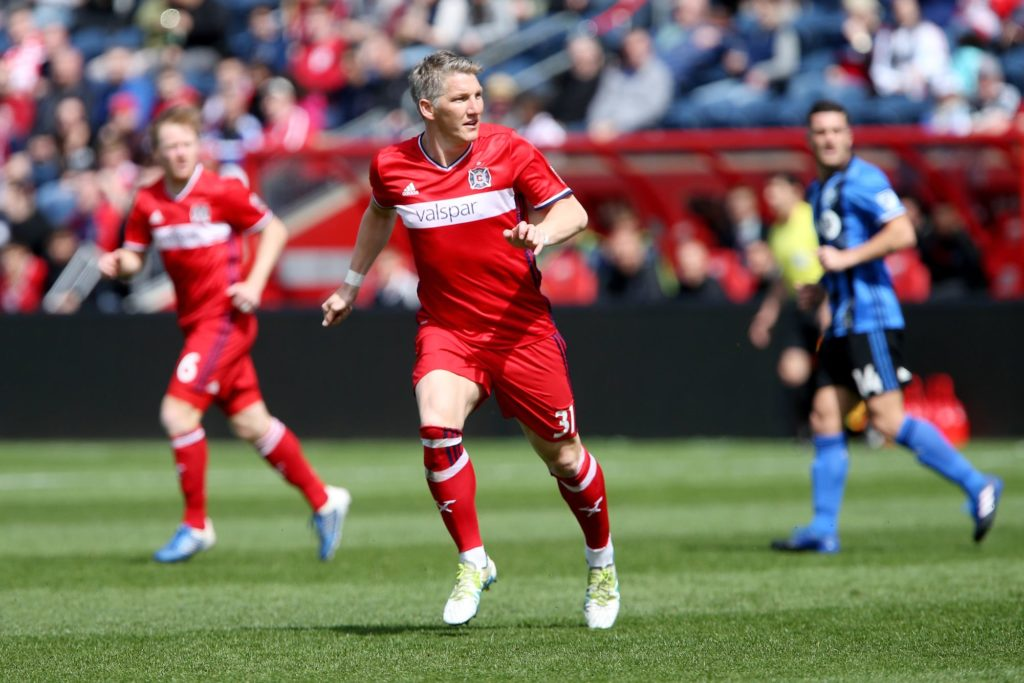 BRIDGEVIEW, IL - APRIL 1: Bastian Schweinsteiger #31 of Chicago Fire plays left midfielder in the first half against the Montreal Impact during an MLS match at Toyota Park on April 1, 2017 in Bridgeview, Illinois.   Dylan Buell/Getty Images/AFP