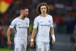 Daniel Drinkwater and David Luiz of Chelsea during the UEFA Champions League group C match between AS Roma and Chelsea FC at Stadio Olimpico on October 31, 2017 in Rome, Italy.  (Photo by Matteo Ciambelli/NurPhoto)