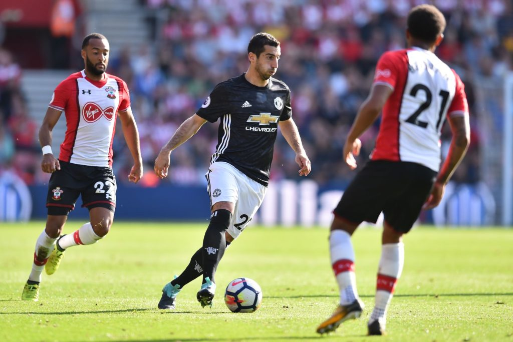 Manchester United's Armenian midfielder Henrikh Mkhitaryan runs with the ball during the English Premier League football match between Southampton and Manchester United at St Mary's Stadium in Southampton, southern England on September 23, 2017. / AFP PHOTO / Glyn KIRK / RESTRICTED TO EDITORIAL USE. No use with unauthorized audio, video, data, fixture lists, club/league logos or 'live' services. Online in-match use limited to 75 images, no video emulation. No use in betting, games or single club/league/player publications.  /