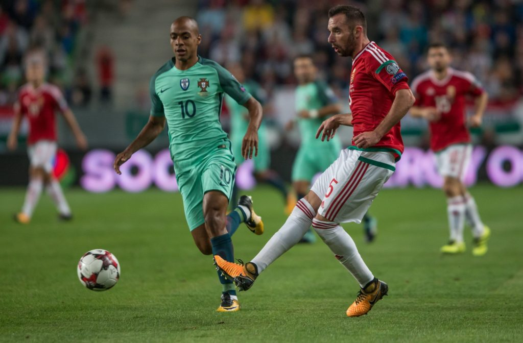 Joao Mario (L) of Portugal in action with Attila Fiola (R) of Hungary during the World Cup qualification match between Hungary and Portugal at Groupama Arena on Nov 03, 2017 in Budapest, Hungary. (Photo by Robert Szaniszló/NurPhoto)