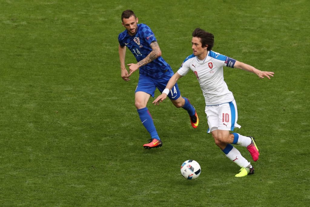 Tomas Rosicky (CZE), Marcelo Brozovic (CRO),    during the UEFA EURO 2016 Group D match between Czech Republic and Croatia at Stade Geoffroy-Guichard on June 17, 2016 in Saint-Etienne, France. (Photo by Foto Olimpik/NurPhoto)