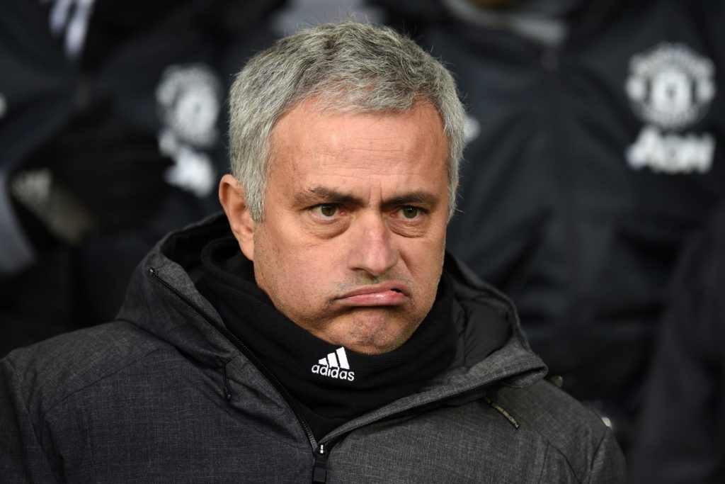 Manchester United's Portuguese manager Jose Mourinho gestures as he awaits kick off in the English Premier League football match between West Bromwich Albion and Manchester United at The Hawthorns stadium in West Bromwich, central England, on December 17, 2017.  / AFP PHOTO / Oli SCARFF / RESTRICTED TO EDITORIAL USE. No use with unauthorized audio, video, data, fixture lists, club/league logos or 'live' services. Online in-match use limited to 75 images, no video emulation. No use in betting, games or single club/league/player publications.  /