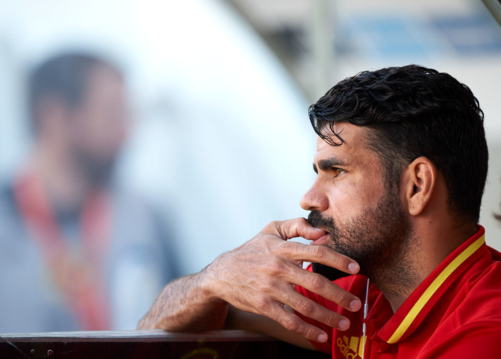 MURCIA, SPAIN - JUNE 07:  Diego Costa looks on prior the international friendly match between Spain and Colombia at Nueva Condomina stadium on June 7, 2017 in Murcia, Spain.  (Photo by fotopress/Getty Images)