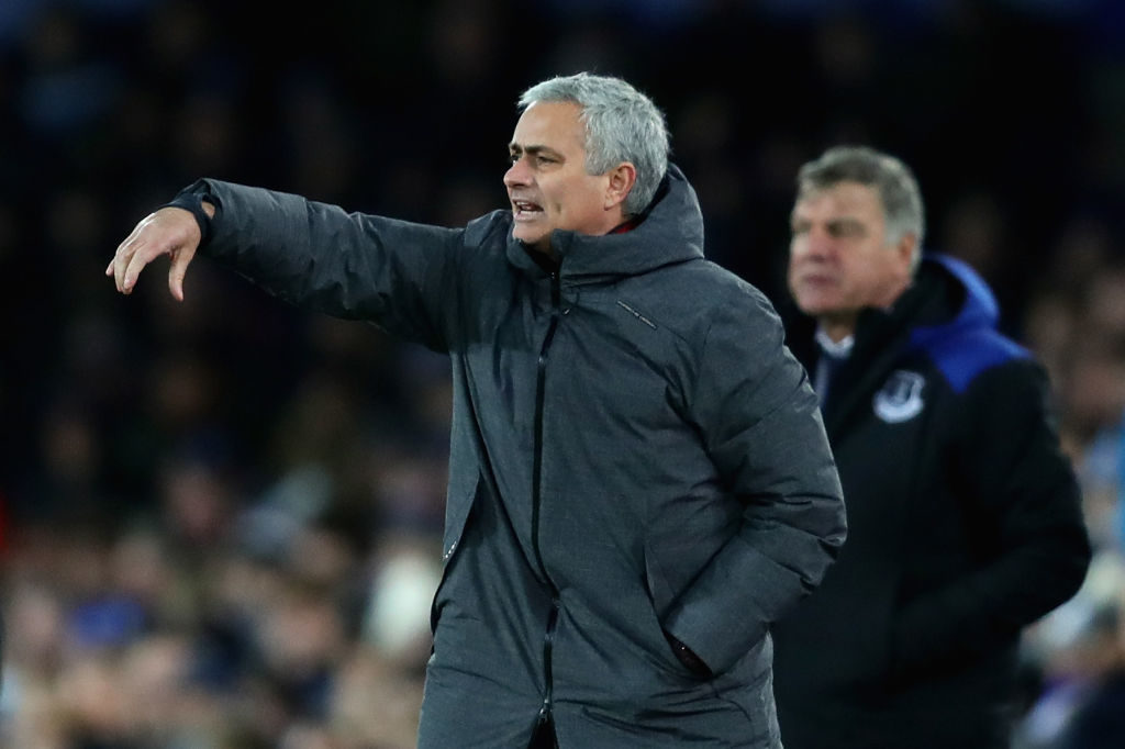 LIVERPOOL, ENGLAND - JANUARY 01:  Jose Mourinho, Manager of Manchester United gestures from the sideline during the Premier League match between Everton and Manchester United at Goodison Park on January 1, 2018 in Liverpool, England.  (Photo by Chris Brunskill Ltd/Getty Images)