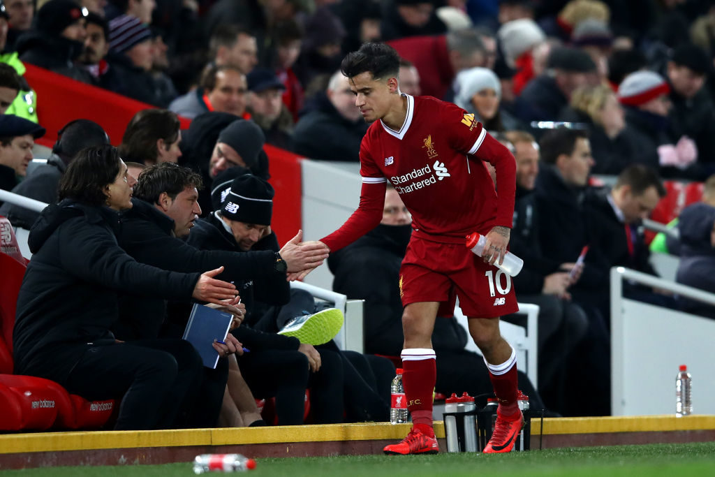 LIVERPOOL, ENGLAND - DECEMBER 30:  Philippe Coutinho of Liverpool is substituted during the Premier League match between Liverpool and Leicester City at Anfield on December 30, 2017 in Liverpool, England.  (Photo by Clive Brunskill/Getty Images)