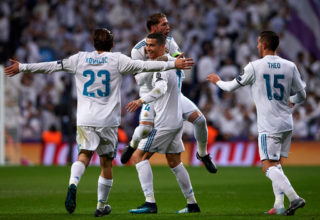 MADRID, SPAIN - DECEMBER 06:  Cristiano Ronaldo of Real Madrid  celebrates scoring his team's second goal with his teammates Mateo Kovacic, Theo Hernandez and Sergio Ramos during the UEFA Champions League group H match between Real Madrid and Borussia Dortmund at Estadio Santiago Bernabeu on December 6, 2017 in Madrid, Spain.  (Photo by Manuel Queimadelos Alonso/Getty Images)