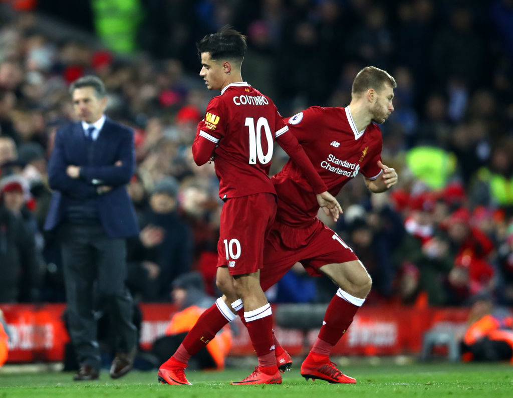 LIVERPOOL, ENGLAND - DECEMBER 30: Philippe Coutinho of Liverpool leaves the pitch to make way for Ragnar Klavan of Liverpool whom is substituted on during the Premier League match between Liverpool and Leicester City at Anfield on December 30, 2017 in Liverpool, England.  (Photo by Clive Brunskill/Getty Images)