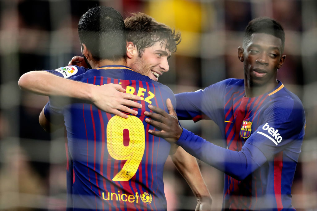 BARCELONA, SPAIN - JANUARY 7: Luis Suarez of FC Barcelona celebrates 2-0 with Sergi Roberto of FC Barcelona, Ousmane Dembele of FC Barcelona  during the La Liga Santander  match between FC Barcelona v Levante at the Camp Nou on January 7, 2018 in Barcelona Spain (Photo by Laurens Lindhout/Soccrates/Getty Images)