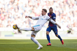 MADRID, SPAIN - DECEMBER 23: Sergio Ramos of Real Madrid in action during the La Liga 2017-18 match between Real Madrid and FC Barcelona at Santiago Bernabeu Stadium on December 23 2017 in Madrid, Spain. (Photo by Power Sport Images/Getty Images)