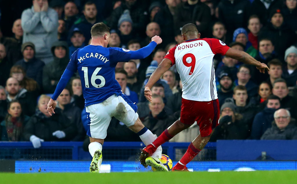 during the Premier League match between Everton and West Bromwich Albion at Goodison Park on January 20, 2018 in Liverpool, England.