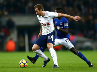 during the Premier League match between Tottenham Hotspur and Everton at Wembley Stadium on January 13, 2018 in London, England.