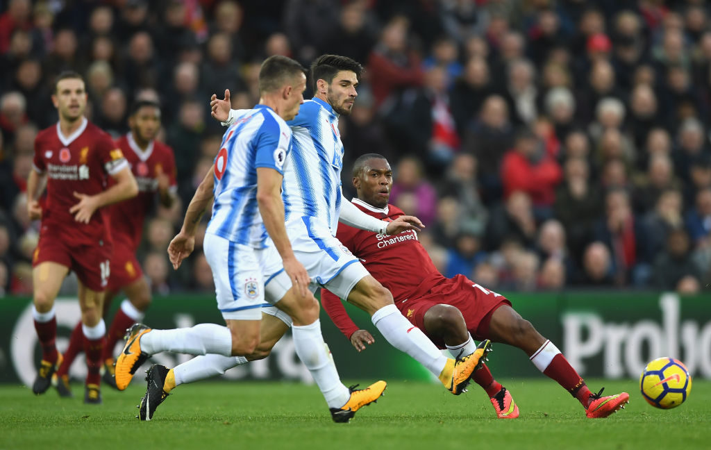 LIVERPOOL, UNITED KINGDOM - OCTOBER 28: Daniel Sturridge of Liverpool shoots during the Premier League match between Liverpool and Huddersfield Town at Anfield on October 28, 2017 in Liverpool, England.  (Photo by Gareth Copley/Getty Images)