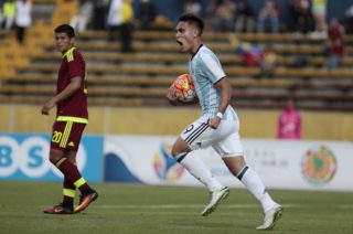 Lautaro Martínez of Argentina celebrates the second goal against Venezuela in the South American Sub20 tournament played in the Olípico Atahualpa stadium, in Quito, February 11, 2017. (Photo by Franklin Jácome / ACGEcuador)