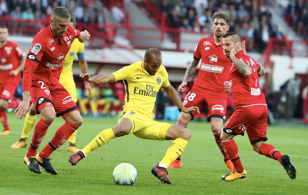 DIJON, FRANCE - OCTOBER 14:  Lucas Moura of Paris Saint-Germain in action during the Ligue 1 match between Dijon FCO and Paris Saint Germain (PSG) at Stade Gaston-Gerard on October 14, 2017 in Dijon.  (Photo by Xavier Laine/Getty Images )