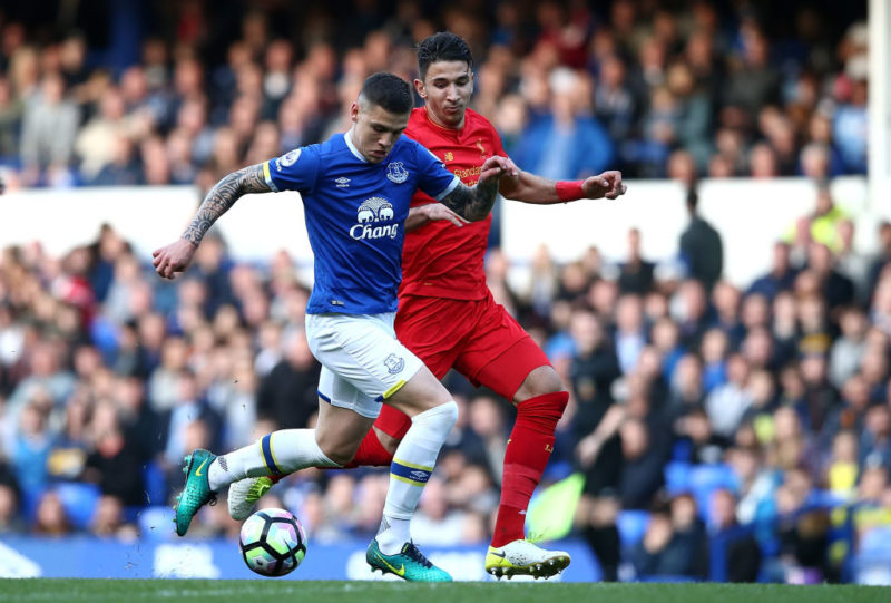 LIVERPOOL, ENGLAND - MAY 08:  Muhamed Besic of Everton controls the ball from Marko Grujic of Liverpool during the Premier League 2 match between Everton and Liverpool at Goodison Park on May 8, 2017 in Liverpool, England.  (Photo by Jan Kruger/Getty Images)
