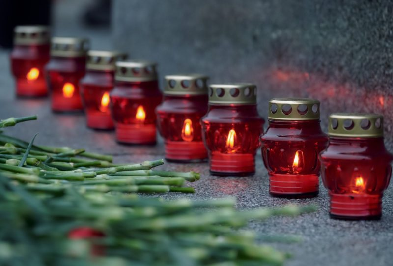 3282305 01/27/2018 Candles lit during the wreath-laying ceremony at the Piskaryovskoye Memorial Cemetery marking the 74th anniversary of the complete liberation of Leningrad from the Nazi blockade. Alexei Danichev/Sputnik