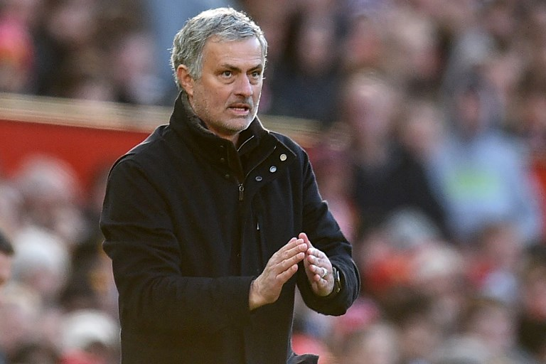 Manchester United's Portuguese manager Jose Mourinho gestures on the touchline during the English Premier League football match between Manchester United and Chelsea at Old Trafford in Manchester, north west England, on February 25, 2018. / AFP PHOTO / Oli SCARFF / RESTRICTED TO EDITORIAL USE. No use with unauthorized audio, video, data, fixture lists, club/league logos or 'live' services. Online in-match use limited to 75 images, no video emulation. No use in betting, games or single club/league/player publications.  /